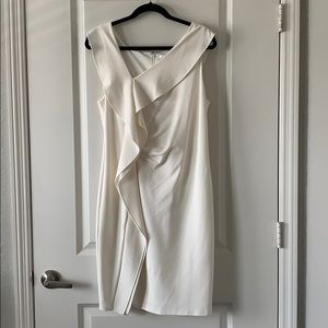 White Classic Asymmetrical Ruched Fitted Dress